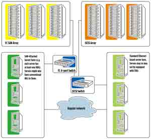 Interwoven FC and iSCSI fabric