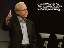 In his MIX07 keynote, Ray Ozzie showcased the old and new pieces of Microsoft's Web development strategy.