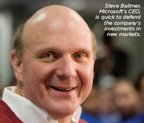 Steve Ballmer, Microsoft's CEO, is quick to defend the company's investments in new markets.