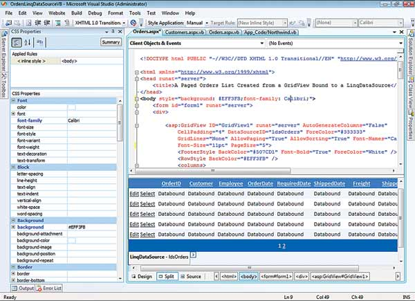 Visual Studio 2008 Kicks Off: Figure 4: Split the ASP.NET Code Editor and Designer's Personality.