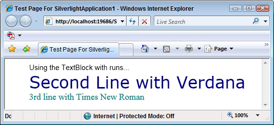 Silverlight XAML Primer 15: Enhancing the TextBlock with Runs and LineBreaks: Figure 2: Defining Run and LineBreak elements within a TextBlock.