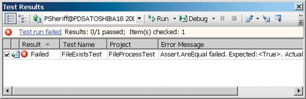 Test Your .NET 3.5 Apps: Figure 1: See Your Test Results.