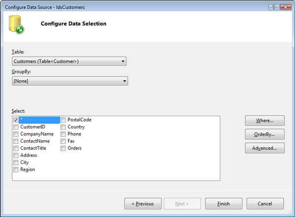 Speed O/R Mapping with LINQ to SQL: Figure 4: Configure ASP.NET's LinqDataSource Component.