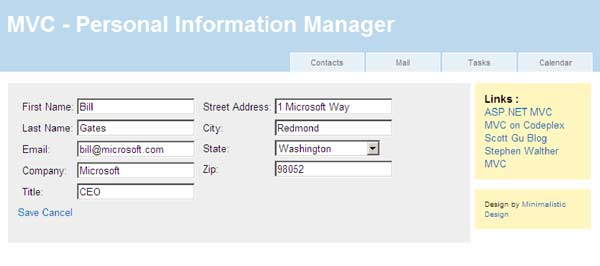 Partition Web Apps Intelligently: Figure 3: Contact Details Screen.
