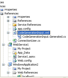 Generate Code from Custom File Formats: Figure 1:  Code-Generation Output The CodeGenerationInput.xml file has had its custom tool property set to SiteProcessor.