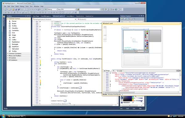 IDE Evolution: Figure 1: The WPF shell lets developers undock window palettes and view code on multiple monitors.
